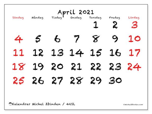 Kalender april 2021, 46SL. Kalender för att skriva ut gratis.