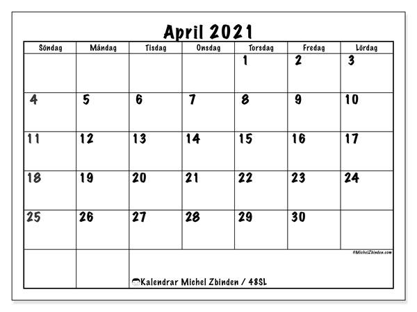 Kalender april 2021, 48SL. Kalender för gratis utskrift.