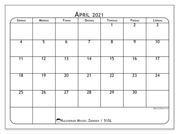 Kalender april 2021, 51SL. Gratis utskrivbara kalender.