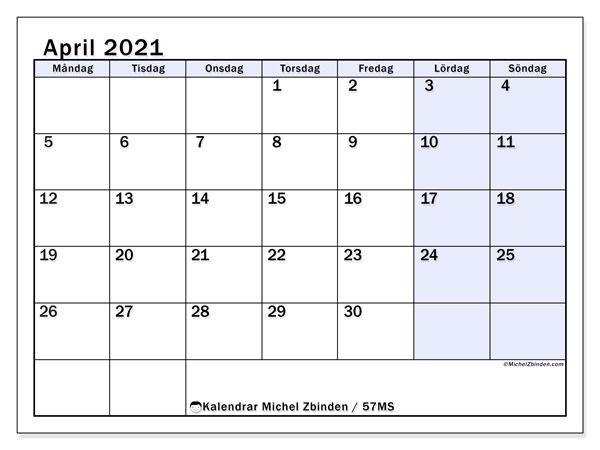 Kalender april 2021, 57MS. Gratis kalender att skriva ut.