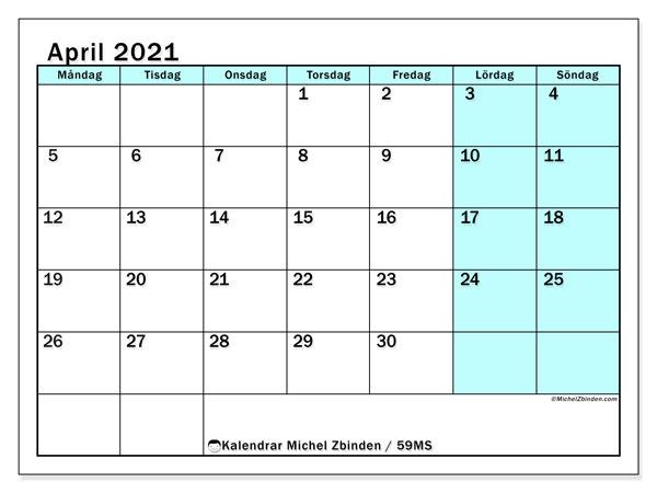 Kalender april 2021, 59MS. Gratis kalender att skriva ut.