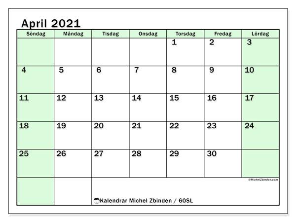 Kalender april 2021, 60SL. Månadskalender för att skriva ut gratis.