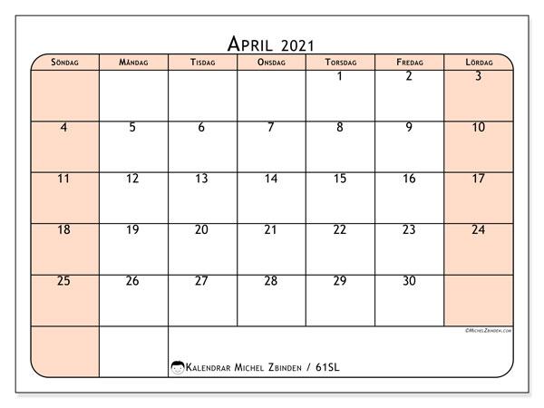 Kalender april 2021, 61SL. Gratis kalender att skriva ut.