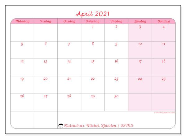 Kalender april 2021, 63MS. Kalender för att skriva ut gratis.