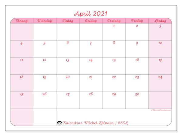 Kalender april 2021, 63SL. Kalender för gratis utskrift.