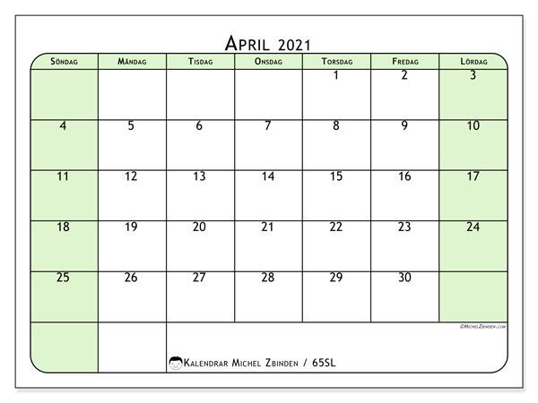 Kalender april 2021, 65SL. Gratis utskrivbara kalender.