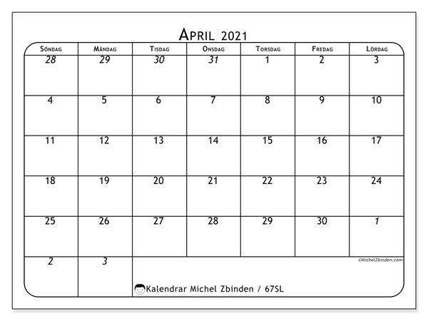 Kalender april 2021, 67SL. Kalender för året att skriva ut gratis.