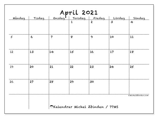 Kalender april 2021, 77MS. Månadskalender för att skriva ut gratis.