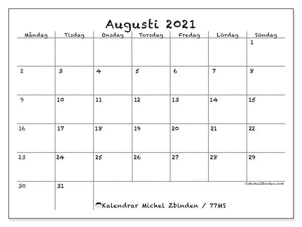 Kalender augusti 2021, 77MS. Almanak för att skriva ut gratis.