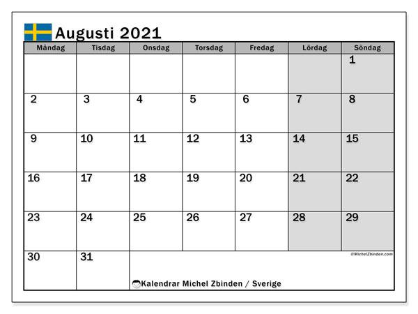 Kalender augusti 2021, med semester i Sverige. Kalender för gratis utskrift med helgdagar.