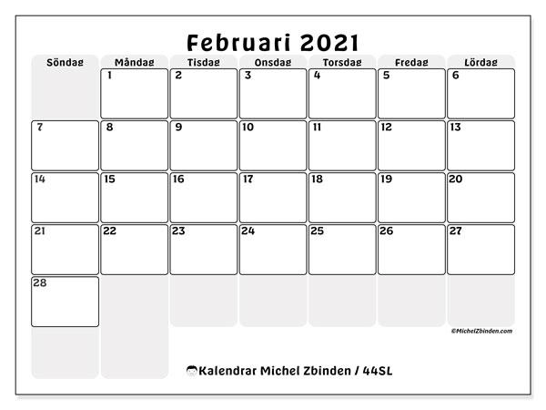 Kalender februari 2021, 44SL. Gratis kalender att skriva ut.