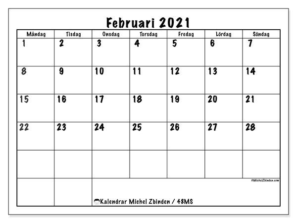 Kalender februari 2021, 48MS. Månadskalender för att skriva ut gratis.