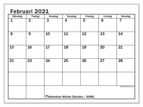 Kalender februari 2021, 50MS. Schema för att skriva ut gratis.