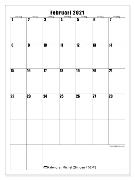 Kalender februari 2021, 52MS. Kalender för gratis utskrift.