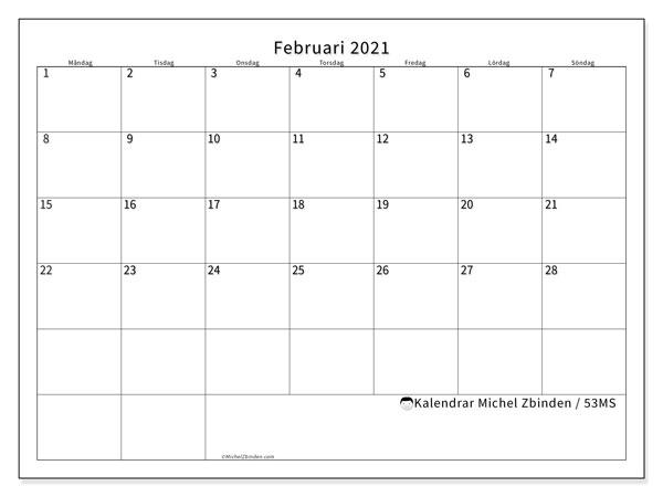 Kalender februari 2021, 53MS. Månadskalender för att skriva ut gratis.
