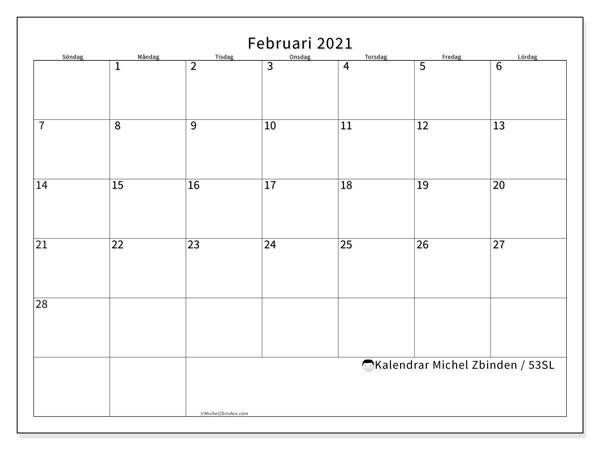 Kalender februari 2021, 53SL. Almanak för att skriva ut gratis.