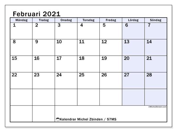 Kalender februari 2021, 57MS. Almanak för att skriva ut gratis.