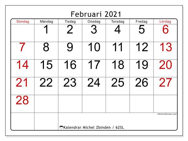 Kalender februari 2021, 62SL. Kalender för gratis utskrift.