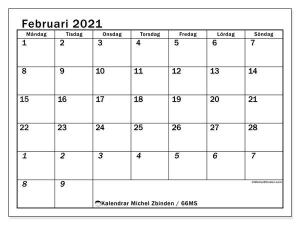 Kalender februari 2021, 66MS. Kalender för att skriva ut gratis.