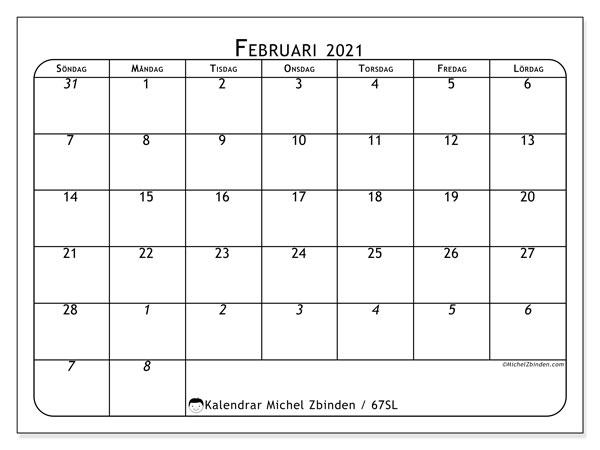 Kalender februari 2021, 67SL. Kalender för att skriva ut gratis.