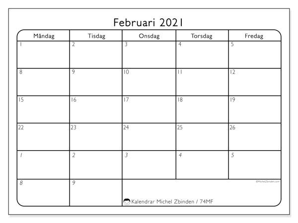 Kalender februari 2021, 74SL. Almanak för att skriva ut gratis.
