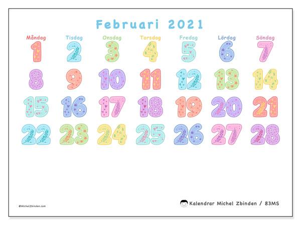Kalender februari 2021, 83MS. Kalender för året att skriva ut gratis.