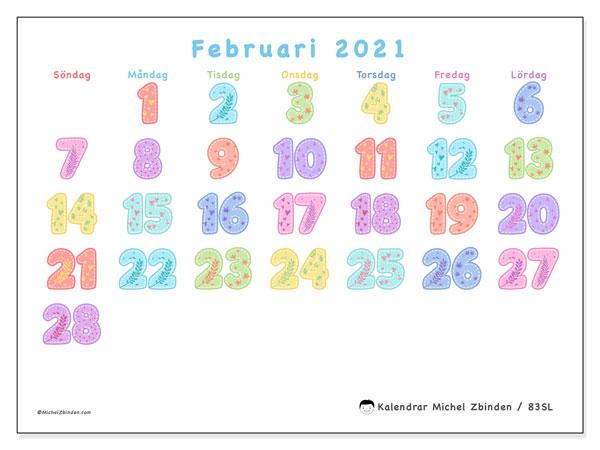 Kalender februari 2021, 83SL. Almanak för att skriva ut gratis.