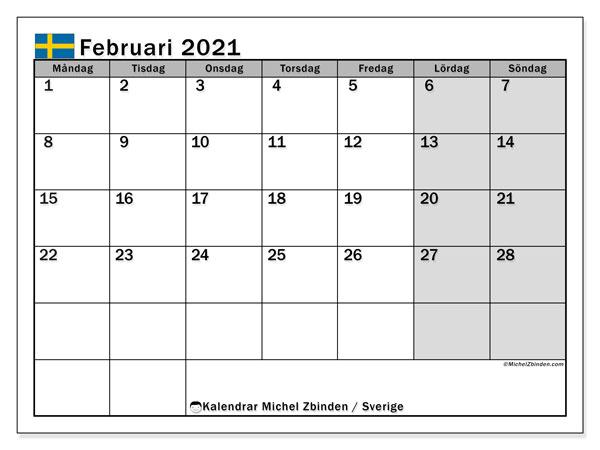 Kalender februari 2021, med semester i Sverige. Kalender för gratis utskrift med helgdagar.