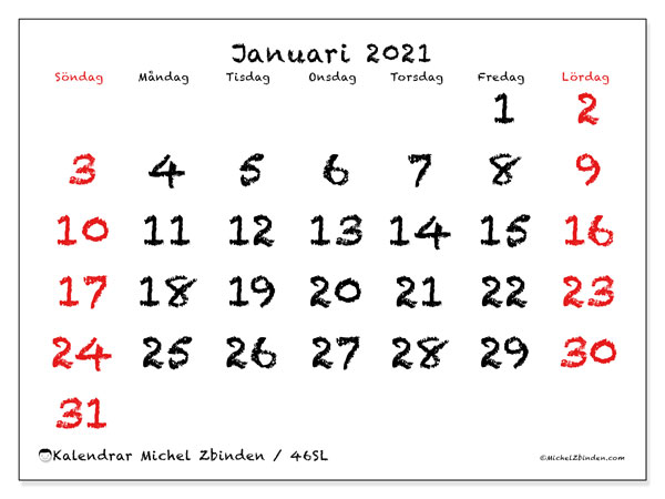 Kalender januari 2021, 46SL. Månadskalender för att skriva ut gratis.
