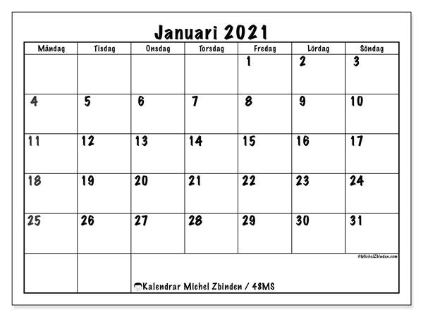 Kalender januari 2021, 48MS. Gratis utskrivbara kalender.