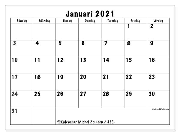 Kalender januari 2021, 48SL. Almanak för att skriva ut gratis.