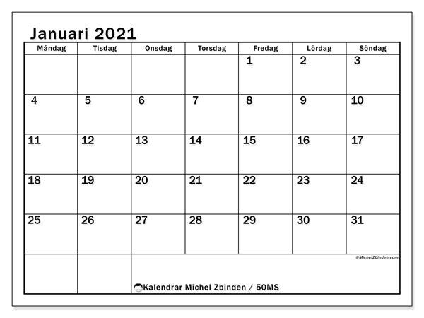 Kalender januari 2021, 50MS. Kalender för att skriva ut gratis.