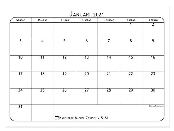 Kalender januari 2021, 51SL. Kalender för gratis utskrift.