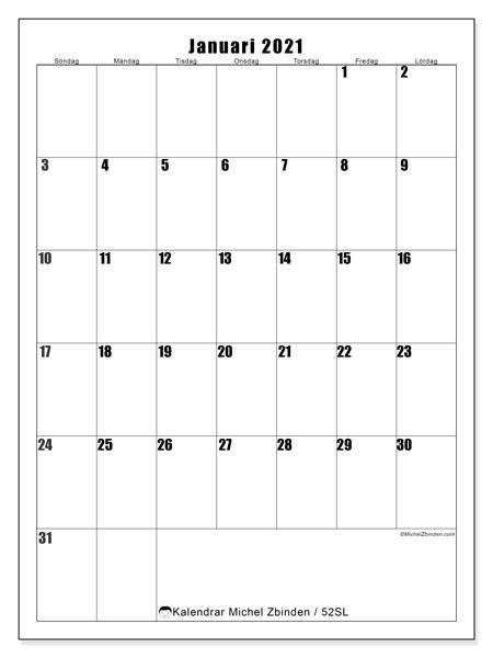 Kalender januari 2021, 52SL. Månadskalender för att skriva ut gratis.