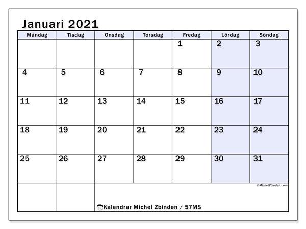 Kalender januari 2021, 57MS. Almanak för att skriva ut gratis.