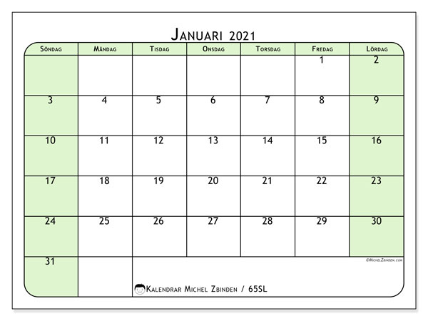 Kalender januari 2021, 65SL. Gratis utskrivbara kalender.
