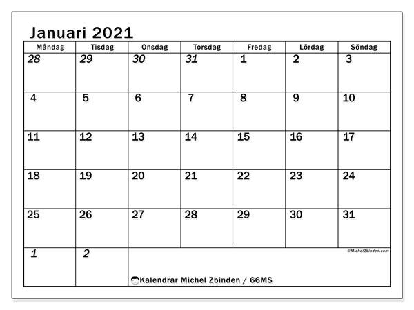 Kalender januari 2021, 66MS. Almanak för att skriva ut gratis.