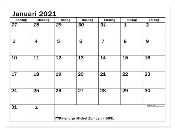 Kalender januari 2021, 66SL. Kalender för att skriva ut gratis.