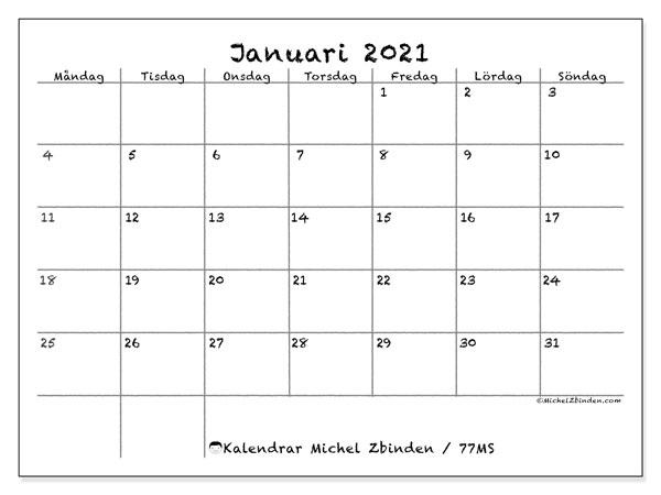 Kalender januari 2021, 77MS. Kalender för att skriva ut gratis.