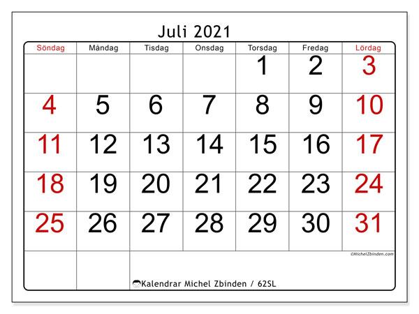 Kalender juli 2021, 62SL. Schema för att skriva ut gratis.