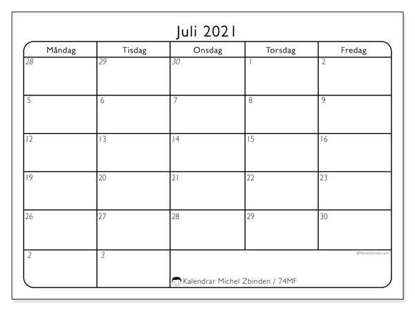 Kalender juli 2021, 74MS. Kalender för att skriva ut gratis.