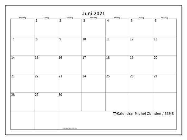 Kalender juni 2021, 53MS. Almanak för att skriva ut gratis.