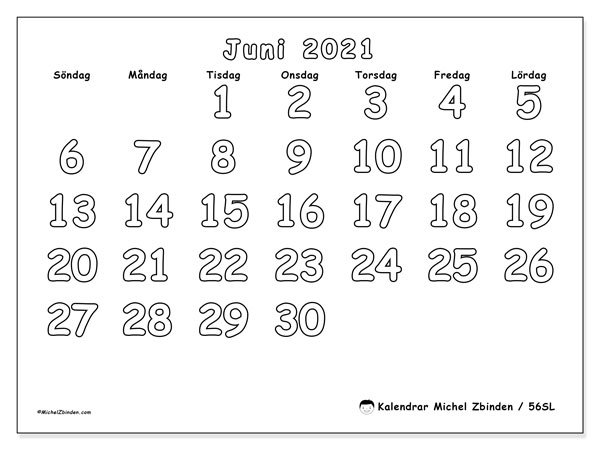 Kalender juni 2021, 56SL. Almanak för att skriva ut gratis.