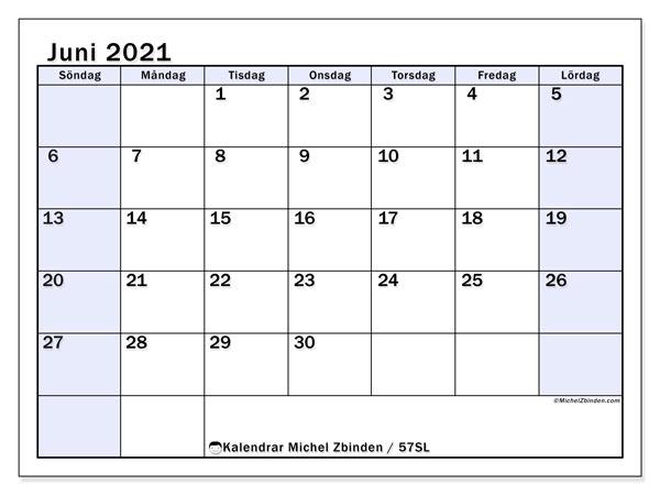 Kalender juni 2021, 57SL. Gratis kalender att skriva ut.