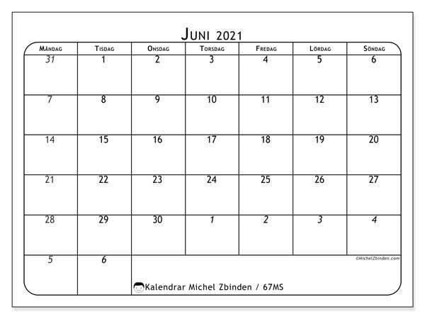 Kalender juni 2021, 67MS. Kalender för att skriva ut gratis.