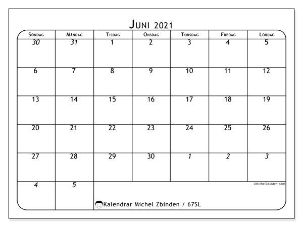 Kalender juni 2021, 67SL. Schema för att skriva ut gratis.