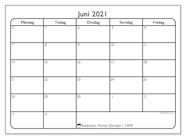 Kalender juni 2021, 74MS. Almanak för att skriva ut gratis.