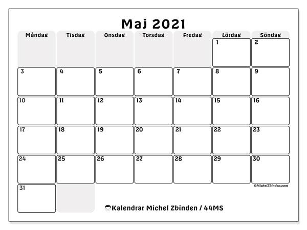 Kalender maj 2021, 44MS. Kalender för året att skriva ut gratis.