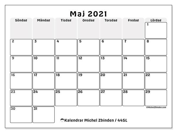 Kalender maj 2021, 44SL. Almanak för att skriva ut gratis.