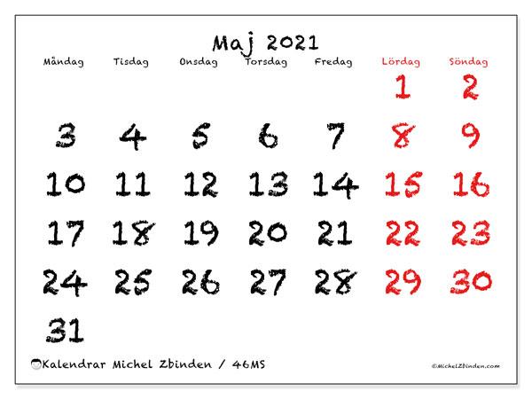 Kalender maj 2021, 46MS. Gratis utskrivbara kalender.